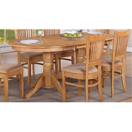 VT-OAK-T Vancouver Oval Double Pedestal Dining Room Table with 17'' Butterfly Leaf ()