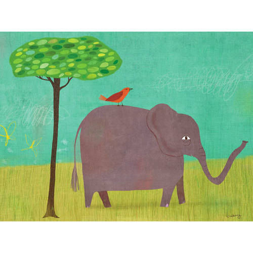 Oopsy Daisy - Canvas Wall Art Elephant And Red Bird 14x10 By Melanie Mikecz