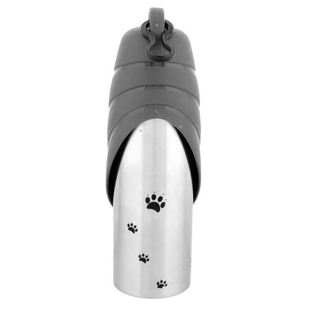 Iconic Pet 52365 750 ml Handy Stainless Steel Pet Travel Water Bottle with Drinking Bowl for Dog & Cat - Gray Cap - image 1 of 1