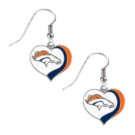 Denver Broncos Nfl Sports Team Logo Glitter Heart Earring Swirl Charm Set