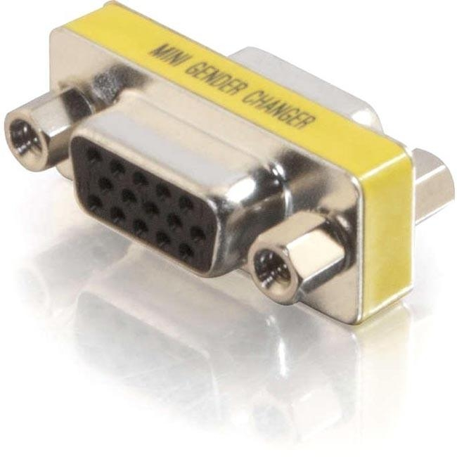 C2G HD15 VGA F/F Mini Gender Changer (Coupler) - 1 x HD-15 Female - 1 x DB-15 Female - Silver, Yellow