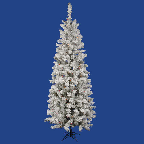 Vickerman Flocked Pacific Pine 6.5' White Artificial Pencil Christmas Tree with 220 Multicolored LED Lights with Stand