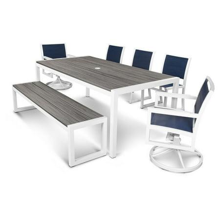 Cool Polywood Parsons Aluminum 7 Piece Rectangle Bench Patio Dining Set Frankydiablos Diy Chair Ideas Frankydiabloscom