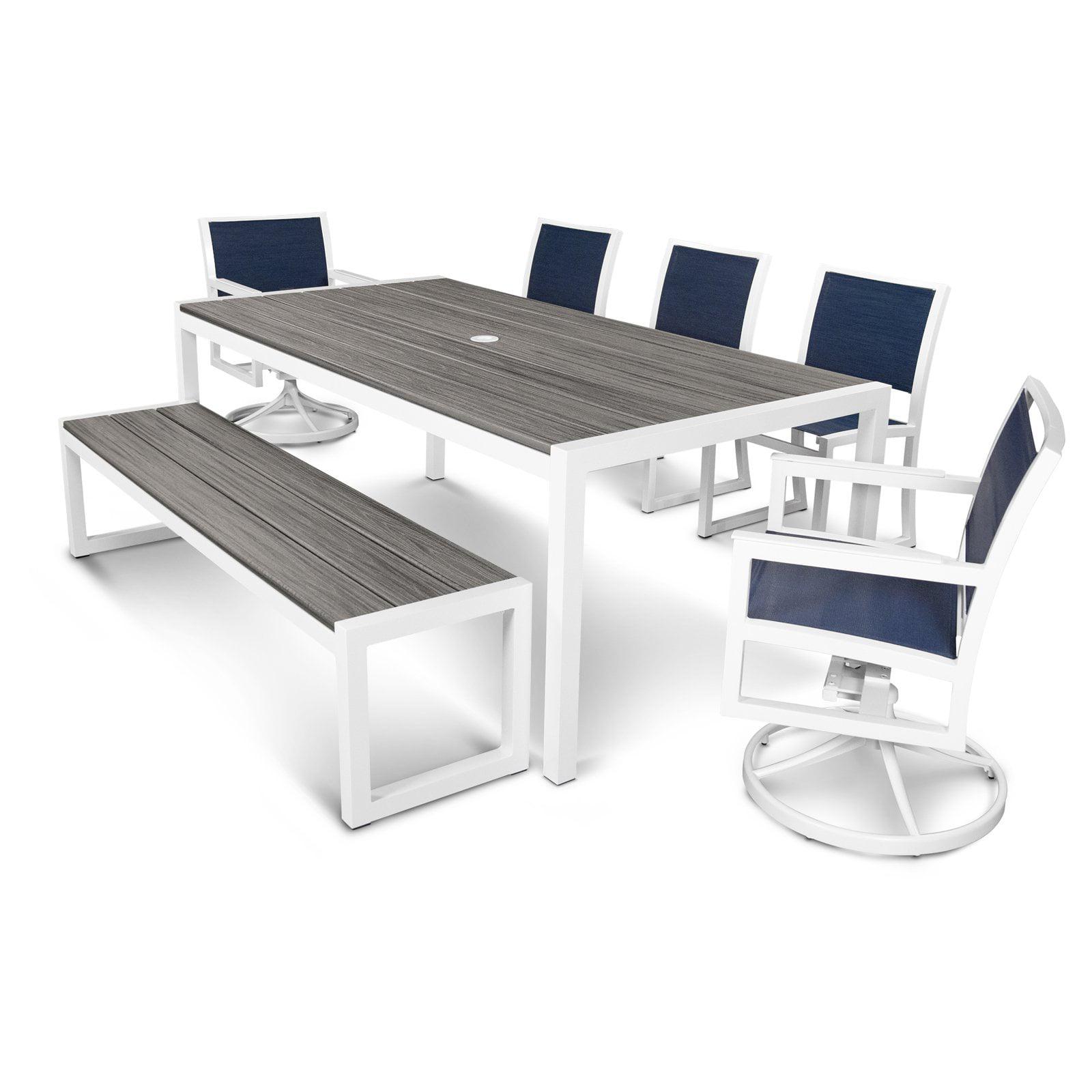 POLYWOOD® Parsons Aluminum 7 Piece Rectangle Bench Patio Dining Set