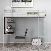 Twin Heavy Duty Metal Loft Bed with Desk, Shelf, Twin Size High Loft Bed Frame for Kids, Teens and Adults (Sliver)