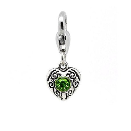 Heart  Antique Silver August Green  Rhinestone Clip On Charms  Fits Thomas Sabo 26X10mm