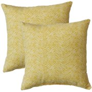 FHT Premiere Home Cameron Shaffron Yellow 17-inch Throw Pillow - Set of 2