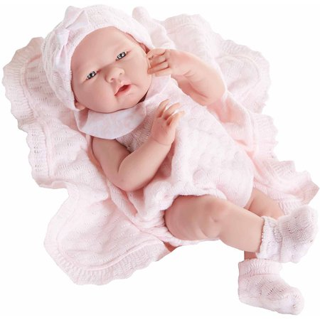 La Newborn 15   All Vinyl Life Like Baby Doll  Pretty Pink Boutique Knit Set  Real Girl