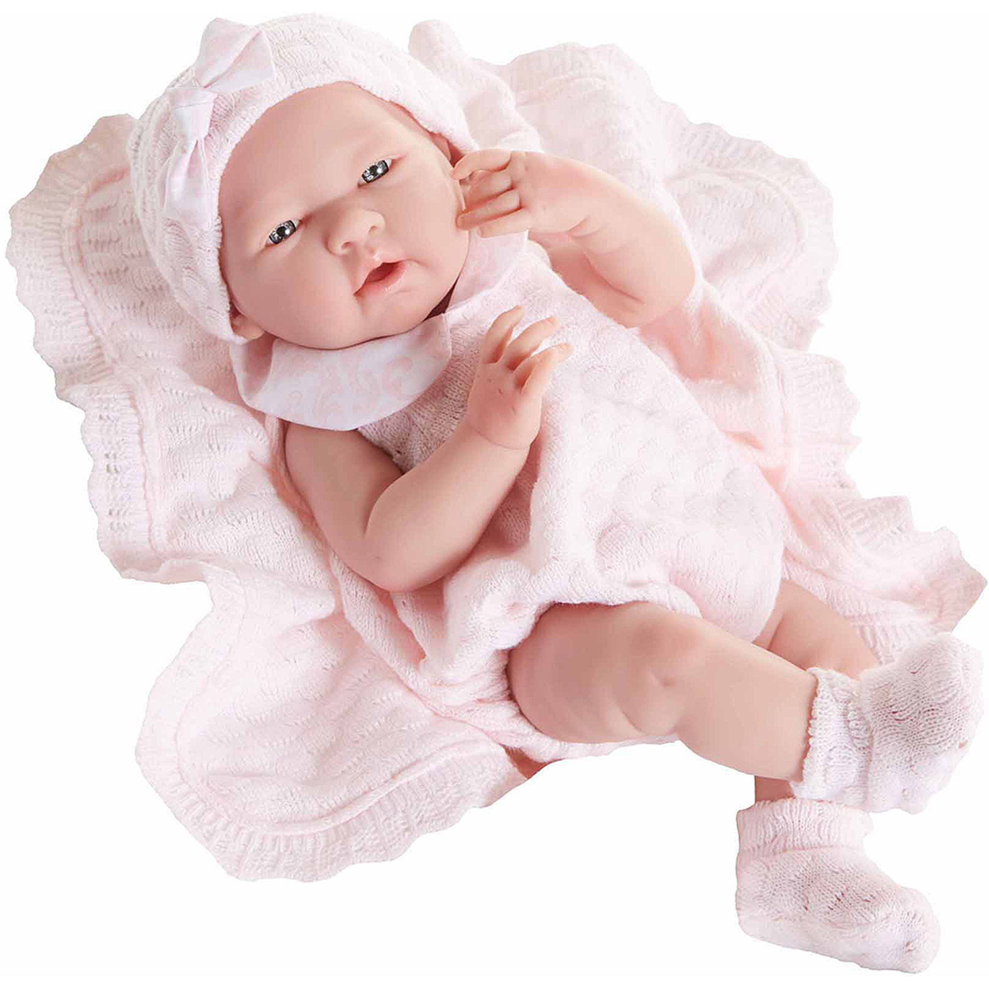 "La Newborn 15"" All-Vinyl Life-Like Baby Doll, Pretty Pink Boutique Knit Set, Real Girl"