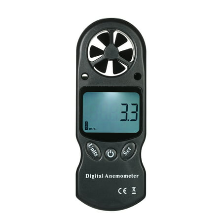8 in 1 Handheld Digital Anemometer Wind Speed/Temperature/Humidity/Wind Chill/Heat Index/Dew Point/Barometric Pressure/Altitude Meter with LCD Backlight--Black Ultrasonic Wind Meter