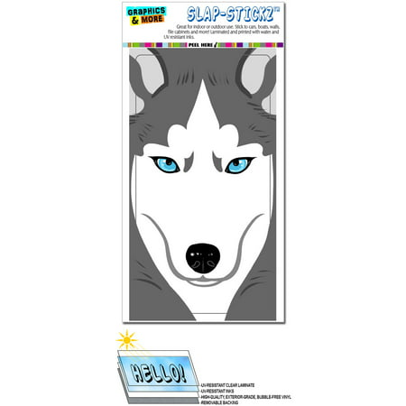 Siberian Husky Dog Pet Full Face SLAP-STICKZ(TM) Premium Sticker - Painted Dog Face For Halloween
