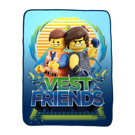 The LEGO Movie 2 Plush Throw, Kids Bedding, 46? x 60?, Vest Friends Emmet and Rex