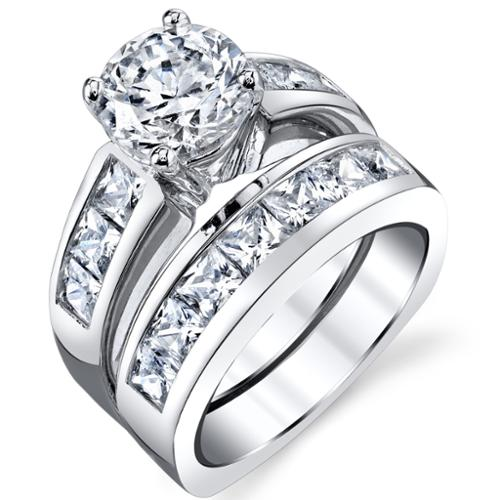 Oliveti Sterling Silver Cubic Zirconia Bridal Set Engagement Ring Size 8