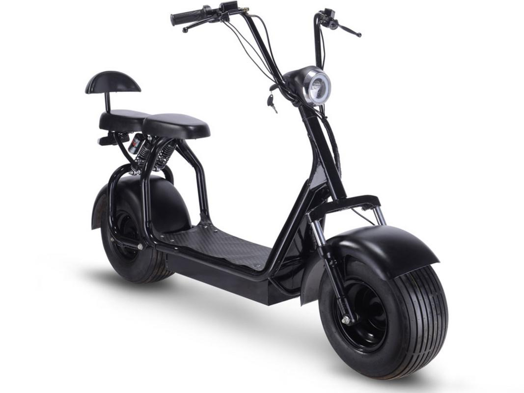 MotoTec Knockout Fat Tire 48v 1000w Electric Scooter Black by MotoTec