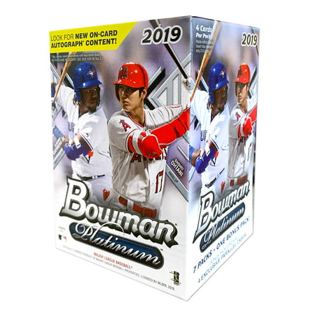 Topps Baseball Cello - 2019 Topps Bowman Platinum Baseball Blaster Box- 28 Topps Bowman Baseball Trading Cards | 1 bonus 4-card Ice foilboard parallel pack