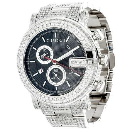 Diamond Gucci 44mm Case YA101309 Watch 9.50 Ct New Custom Mens 101 G Real White (Gucci Watch Case)