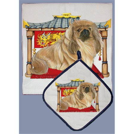 Pipsqueak Productions DP955 Dish Towel and Pot Holder Set - Pekingese