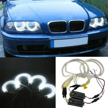 4PCS 131MM+146MM Reflector CCFL Angel Eye Rings 6000K Halo Light Lamp Kit for BMW 3 SERIES E46