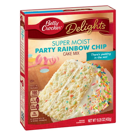 (2 pack) Betty Crocker Super Moist Rainbow Chip Cake Mix, 15.25 oz