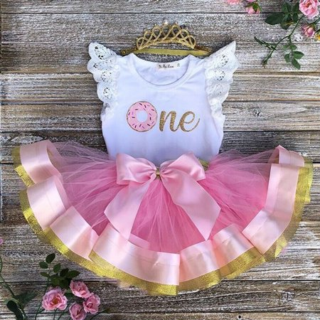 Toddler Baby Girl 1st Birthday Lace Outfit Romper Top Tutu Skirt Cake Smash