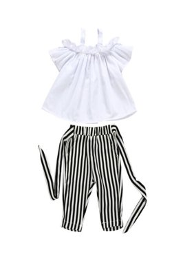 Toddler Kids Baby Girls Cute Strap Ruffle Vest Tank Tops+Stripe Long Pants 2Pcs Outfits Clothes Set