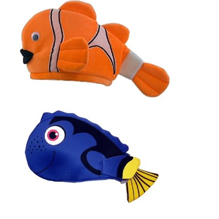 Tropical clown fish hats orange striped blue tang costume for Blue clown fish