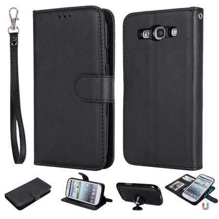 Galaxy S3 Case Wallet, S3 Case, Allytech Premium Leather Flip Case Cover & Card Slots Pocket, Wrist Design Detachable Slim Case for Samsung Galaxy S3 S III I9300 GS3 (Black) ()