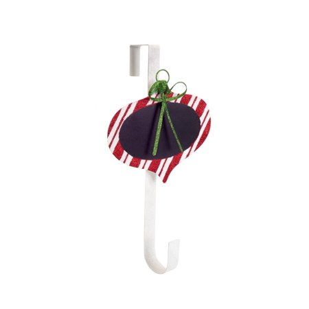 """18"""" Red and White Striped Chalkboard Christmas Ornament Wreath Door Hanger"""