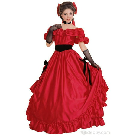 Adult Super Deluxe Red Southern Belle Costume - Southern Belle Costume Adult