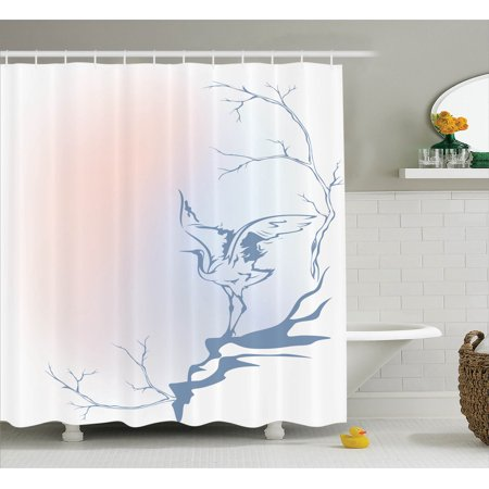 Asian Decor Shower Curtain Set Winter Landscape With Crane On Tree Branch Bird Nature Themed