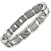 Men's Diamond Accent Stainless Steel and Gray Carbon Fiber Bracelet, 8.5""