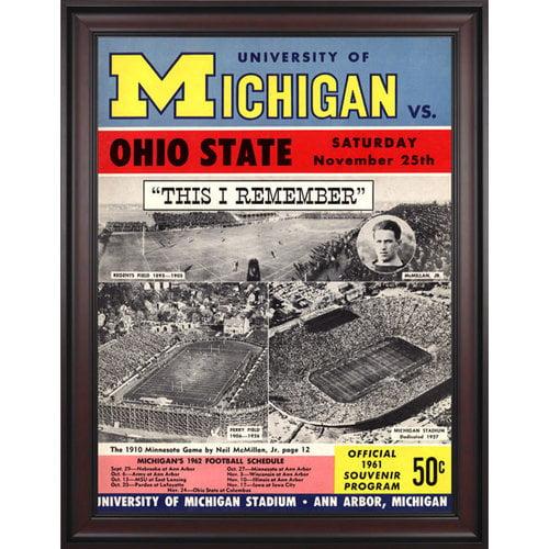 NCAA - 1961 Michigan Wolverines vs. Ohio State Buckeyes 36 x 48 Framed Canvas Historic Football Print