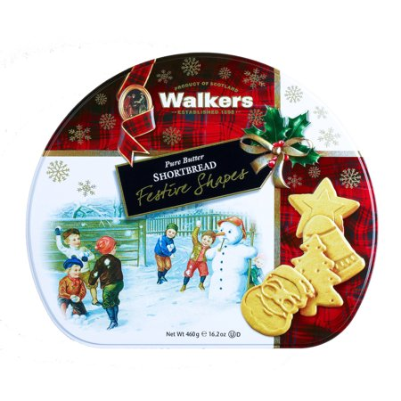 Walkers Shortbread Pure Butter Cookies Festive Shapes Gift Tin 16.2 Oz. (460 g)