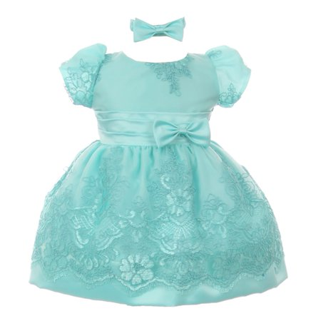 Baby Girls Aqua Floral Lace Overlay Bow Headband Special Occasion Dress