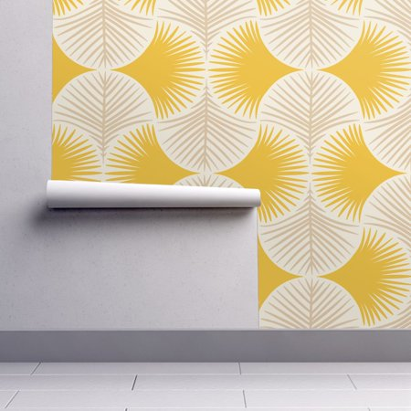 Removable Leaf - Removable Water-Activated Wallpaper Tropics Tropics Yellow Beige Gingko Leaves