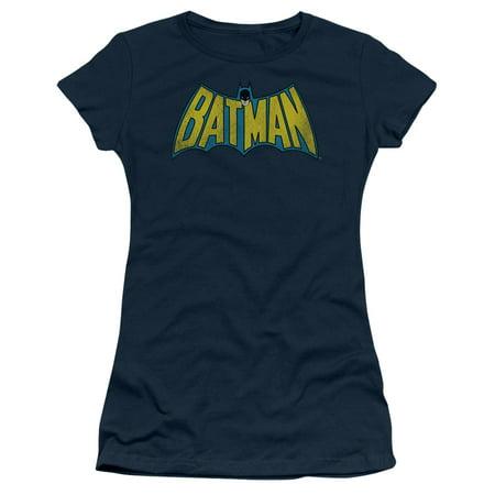 Trevco Dc-Classic Batman Logo - Short Sleeve Junior Sheer Tee - Navy, Medium