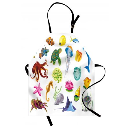 Marine Apron Sea Animals Octopus Dolphin Shells Stingray Crab Turtle Jellyfish Wildlife Graphic, Unisex Kitchen Bib Apron with Adjustable Neck for Cooking Baking Gardening, Multicolor, by Ambesonne