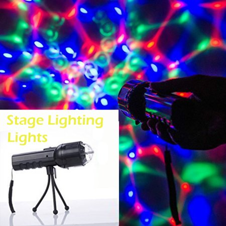 Portable Hand-Held LED Three Color Stage Lighting Lights Disco Ball Lamp Party Show DMX Lighting with Bright Flashlight for Outdoor Camping, Party, Birthday, Christmas, Other Celebration (Disco Ball Light)