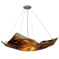 MEYDA 126139 26 in.Sq Cognac Swirl Crinkle Fused Glass Inverted Pendant