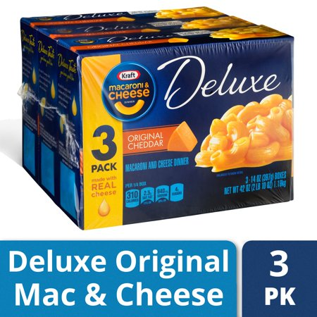 Kraft Deluxe Original Cheddar Macaroni and Cheese Dinner, 3 ct - 14.0 oz Box