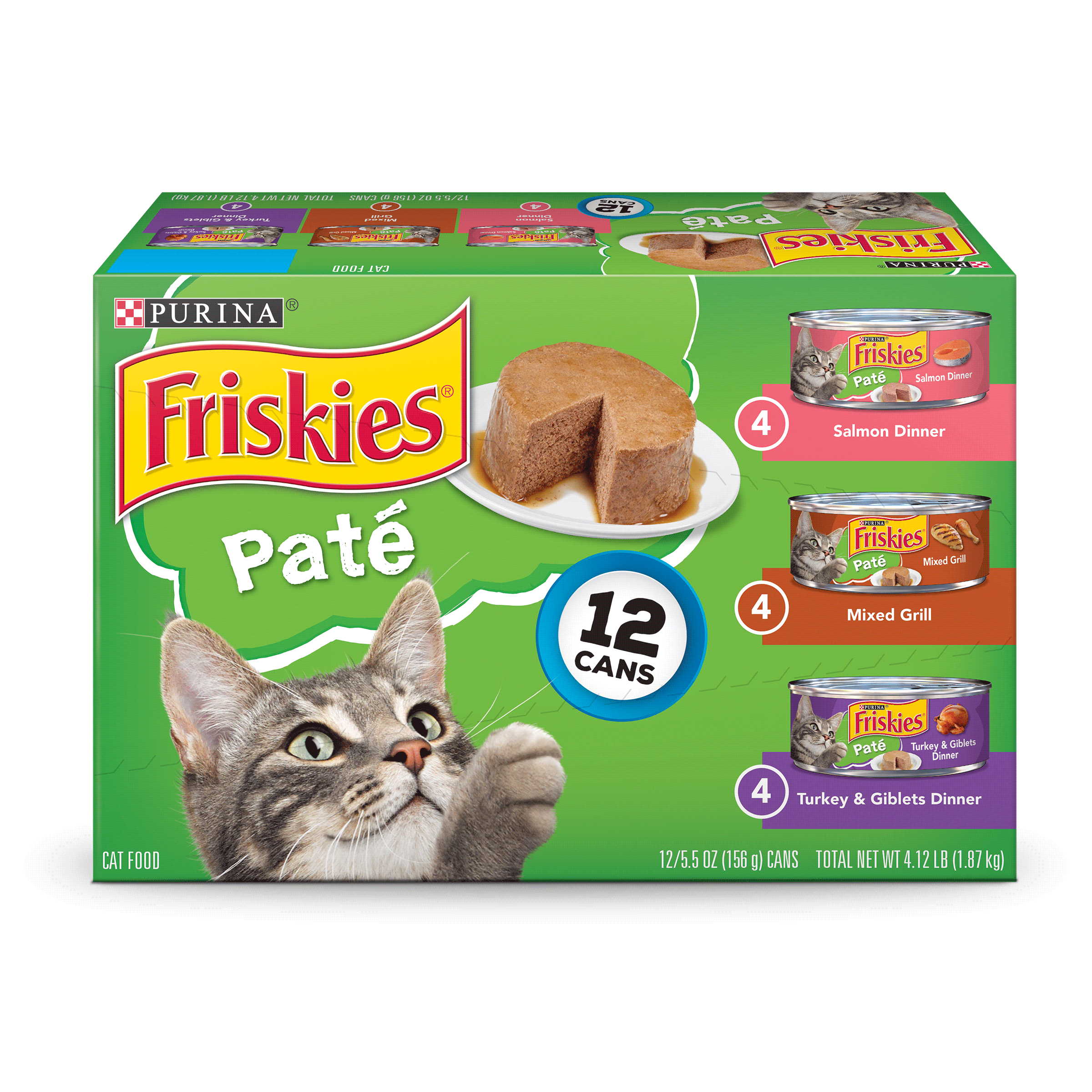 Friskies Pate Wet Cat Food Variety Pack; Salmon, Mixed Grill, Turkey & Giblets (12) 5.5 oz. Cans by Nestle Purina Petcare Company