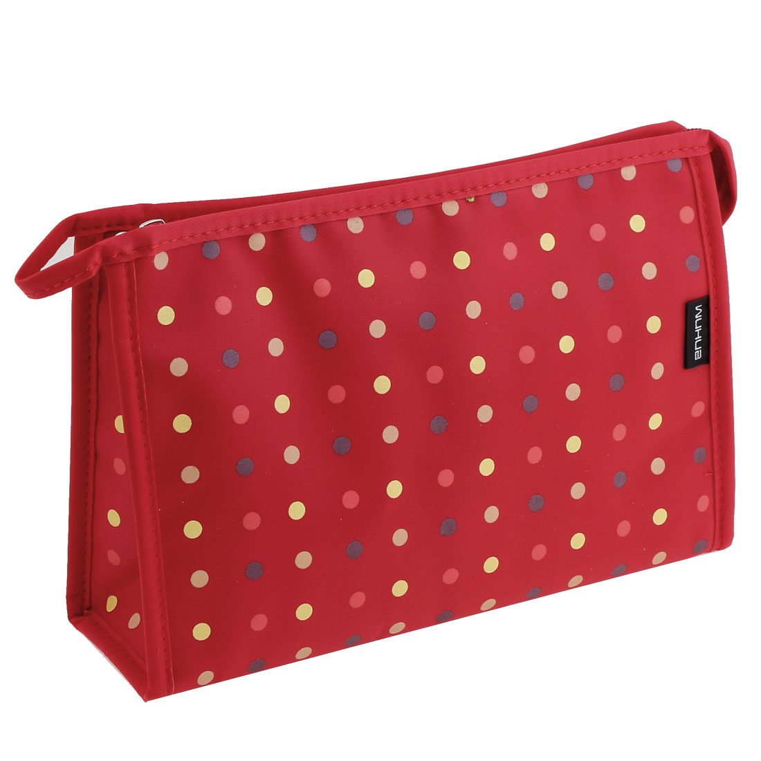 Travel Zipper Closure Colored Dots Print Cosmetic Makeups Bag Storage Case Red