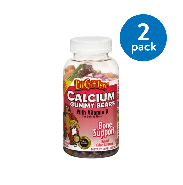 (2 Pack) L'il Critters Calcium + Vitamin D3 Gummies, Fruit, 150 Ct
