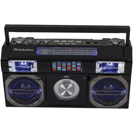 Studebaker SB2145B 80s Retro Street Bluetooth Boom Box with FM Radio & CD Player (Black)](Boom Boxes)