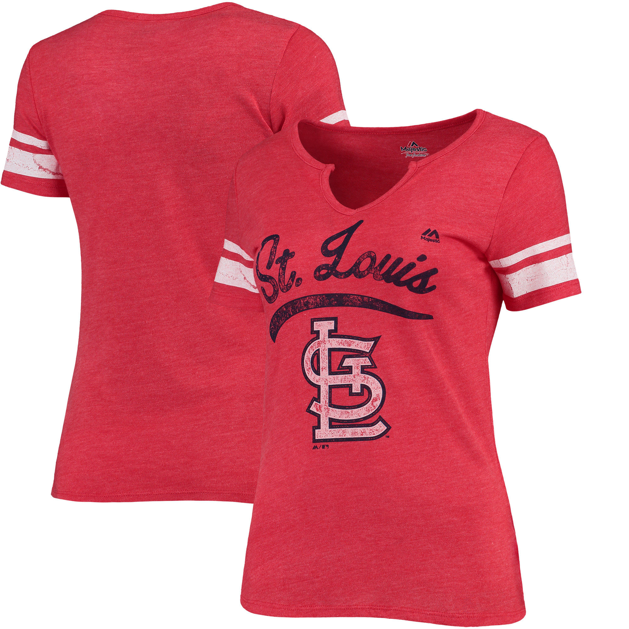 St. Louis Cardinals Majestic Women's Spirit Awareness V-Neck T-Shirt - Heather Red