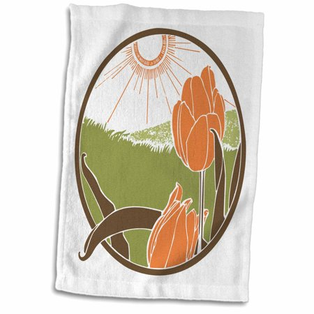 Nouveau Green (3dRose Art Nouveau Tulip Field in Green Brown and Peach - Towel, 15 by)