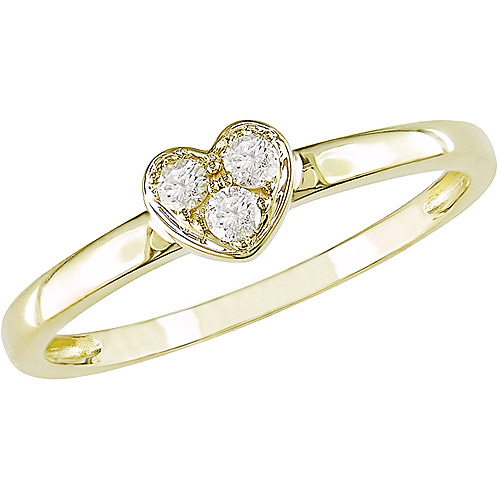Miabella Diamond Accent Heart Ring in 10kt Yellow Gold