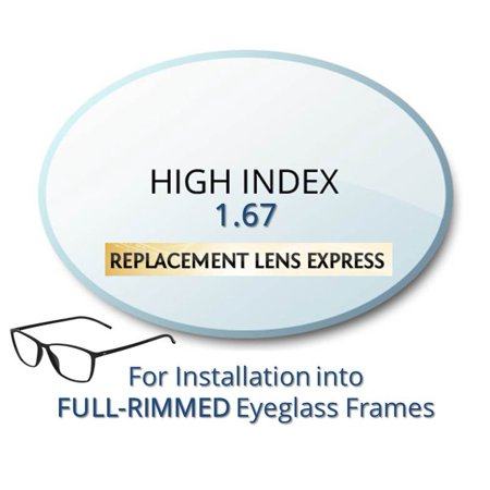 Single Vision High Index 1.67 Prescription Eyeglass Lenses, Left and Right (One Pair), for installation into your own Full-Rimmed Frames, Anti-Scratch Coating Included (Halloween Contact Lenses With No Prescription)