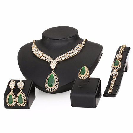 Beaded Set Jewelry Set - 18K Gold Plated Green Beads Crystal Chain Necklace Earrings Ring Bracelet Jewelry Set