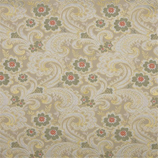 Designer Fabrics E391 54 in. Wide Gold, White, Red And Green, Paisley Floral Brocade Upholstery Fabric
